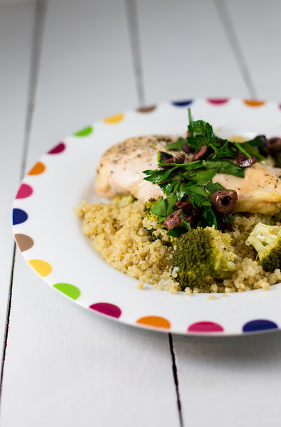 Quinoa Roasted Chicken with Olive Gemolata