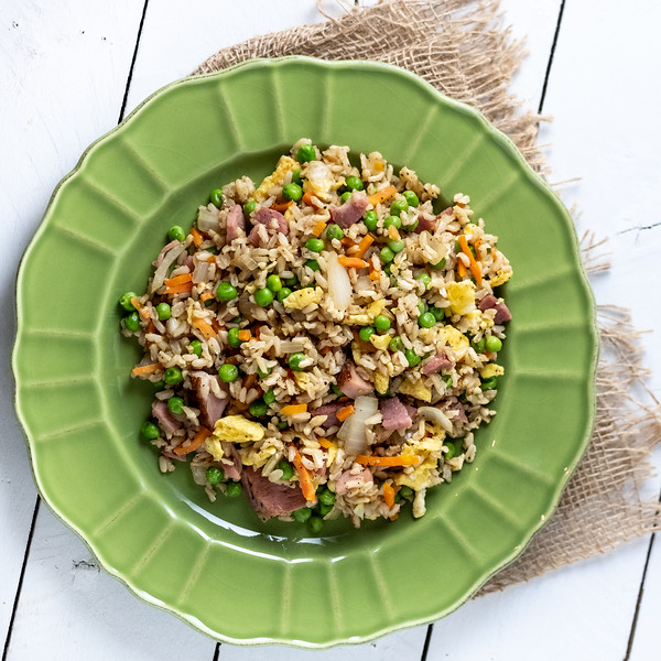 Ham Fried Rice on a Green Plate