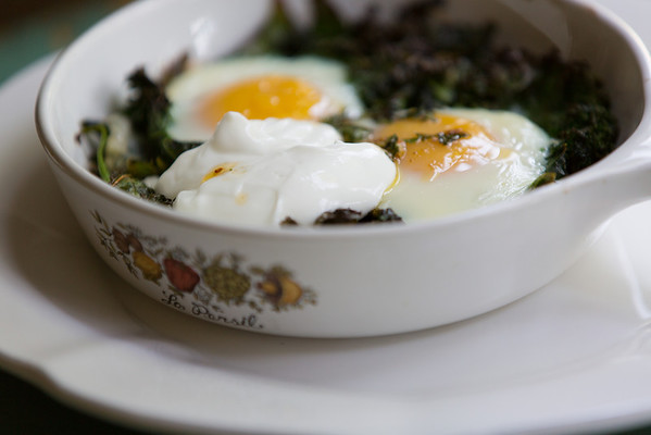 Skillet Baked Eggs with Spinach, Yogurt and Chili Oil