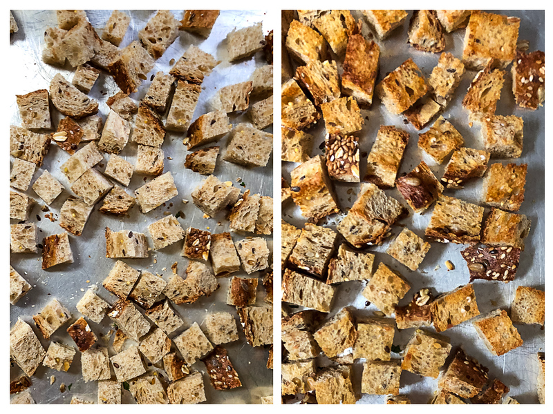 Photo collage showing bread cubes on a baking sheet before and after toasting.