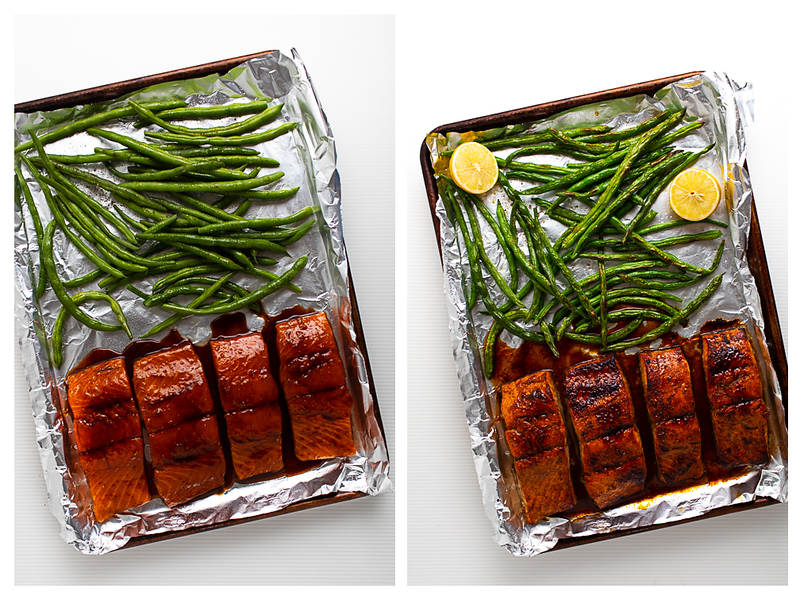 Photo collage showing glazed salmon before and after broiling.