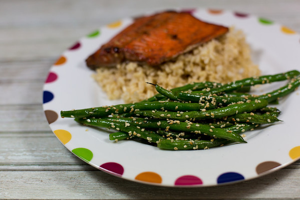 Five Spiced Glazed Salmon with Sesame Green Beans