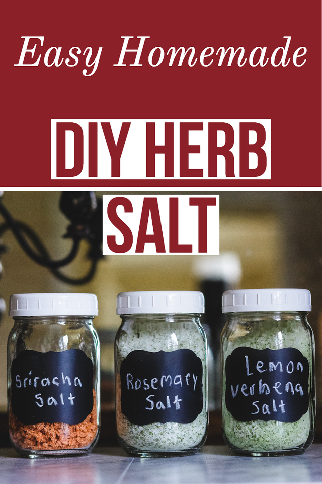 Three jars of herb salt with text reading DIY Herb Salt