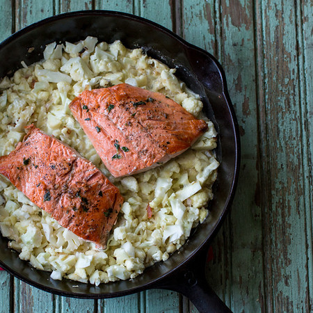 Thyme rubbed salmon over cauliflower risotto