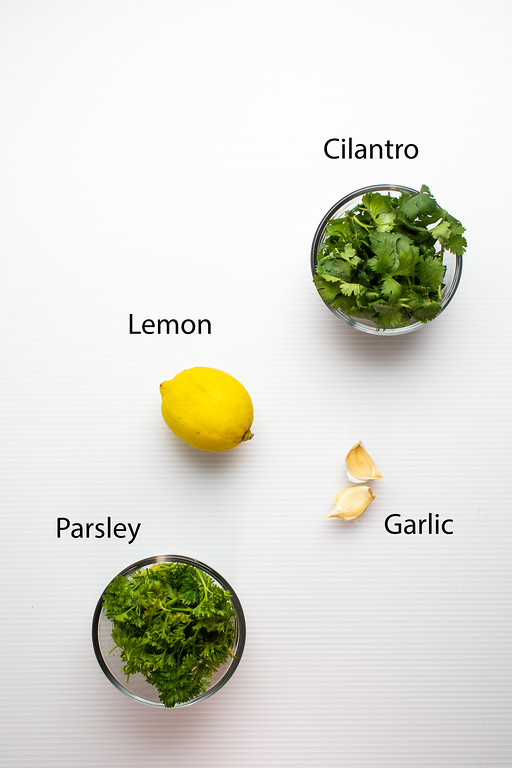 Cilantro, lemon, garlic, parsley for gemolata.
