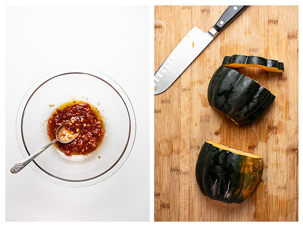 Collage of sauce in mixing bowl and acorn squash being cut.