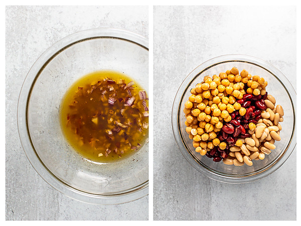 Photo collage showing dressing in bowl and then bowl filled with beans.