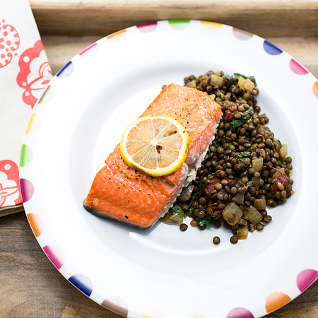 Lemon Broiled salmon on a bed of lentils