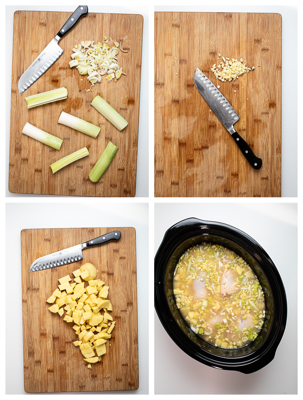 Photo collage showing the first four steps for making slow cooker chicken stew.