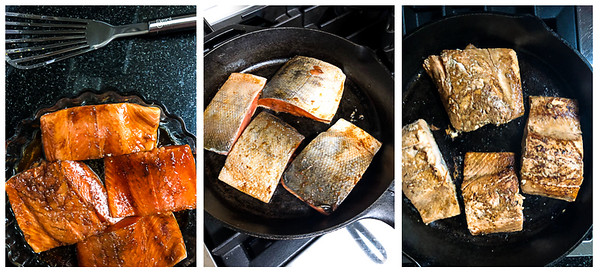 Photo collage showing the steps for cooking the salmon - marinating and searing.