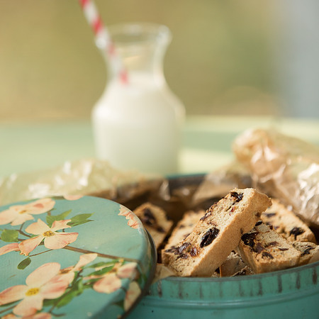 Vintage tin filled with chocolate cherry biscotti