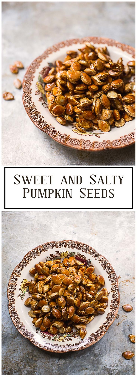 The salty sweet combination in these Sweet and Salty Pumpkin Seeds is so addictive!