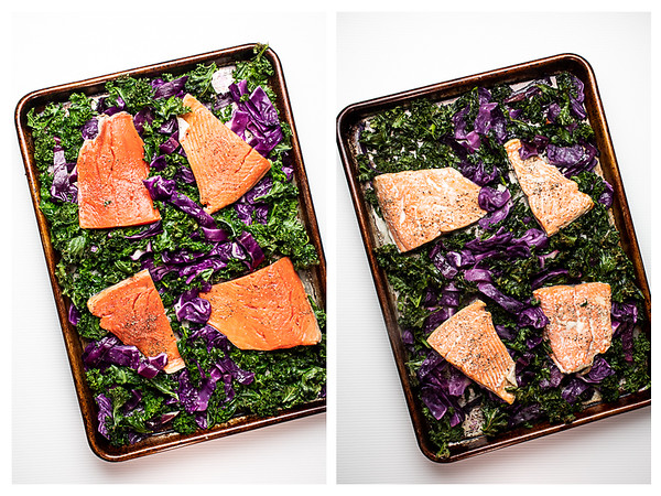 Photo collage showing roasted salmon before and after cooking.