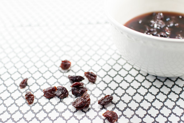 Dried Cherries soaking for clafouti