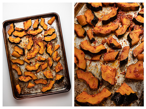 Acorn squash before roasting and after roasting.