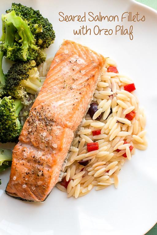 Seared Salmon with Orzo Pilaf