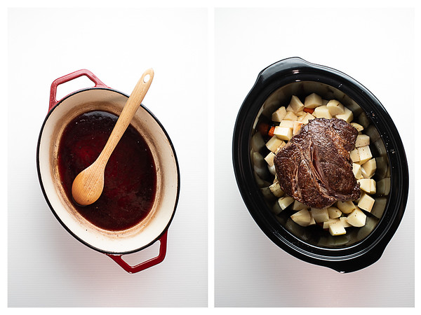 Photo showing the next steps for pot roast - deglazing the pan and pouring the broth in the slow cooker!