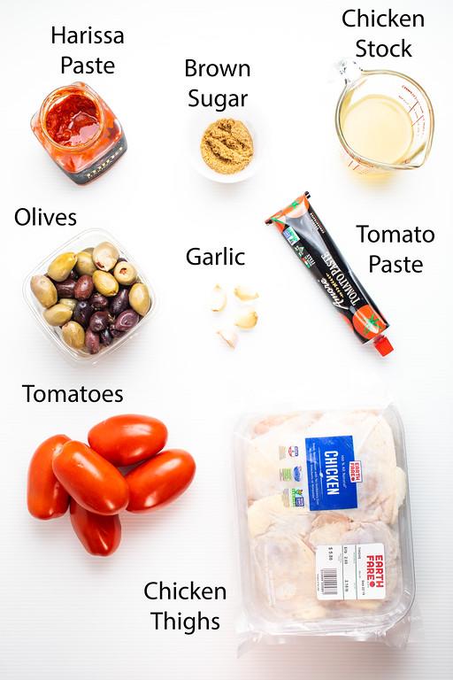 Ingredients to make harissa chicken thighs.
