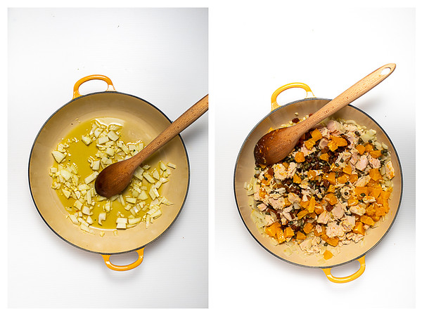 Photo collage showing onions and garlic being heated in a skillet and then the rest of the ingredients added.