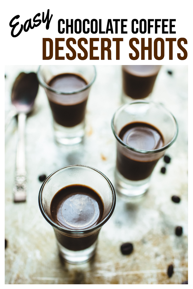 overhead view of coffee shots with text reading Easy Chocolate Coffee Dessert Shots