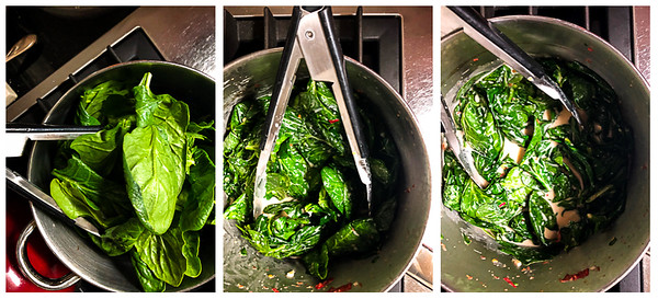 Photo collage of steps for making the coconut spinach
