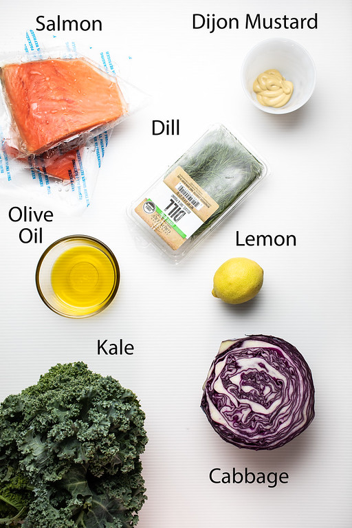 Salmon, dijon mustard, dill, olive oil, lemon, cabbage and kale.