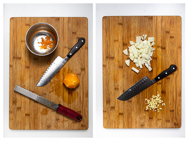 Photo collage showing orange being zested, onions diced, and garlic minced.