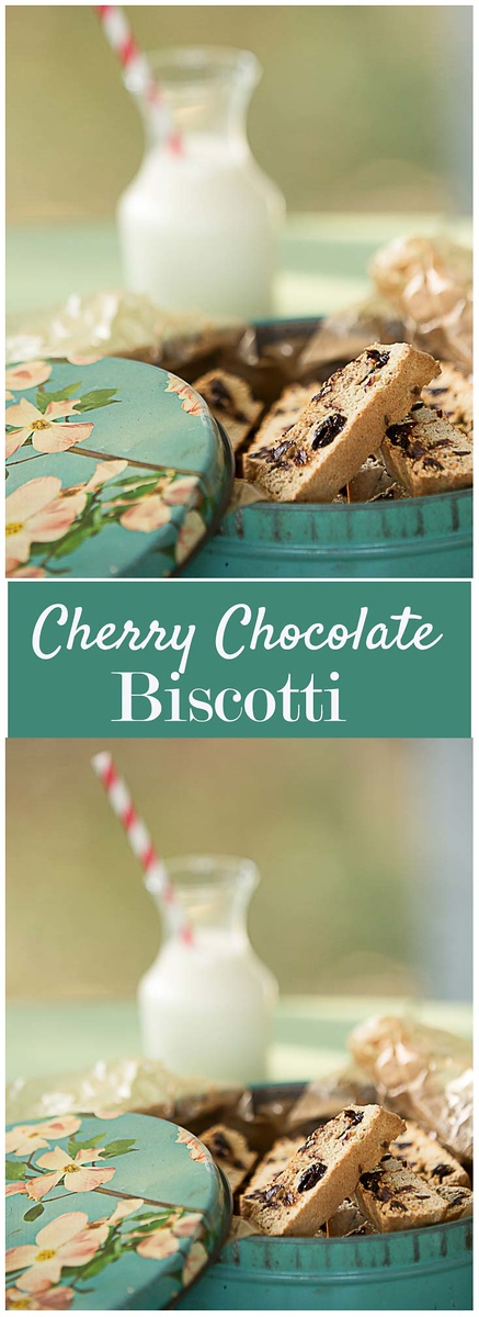 Chocolate Cherry Biscotti - You'll never guess these are made with some whole wheat flour! Tart dried cherries and dark chocolate chips give them so much flavor!