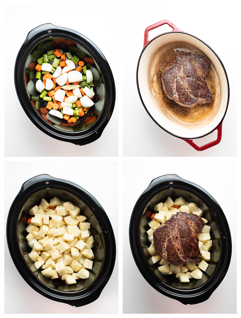 Photo collage showing the first four steps for making crock pot pot roast.