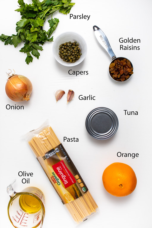 Ingredients to make an easy tuna pasta dinner.