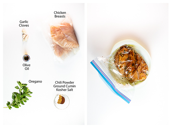 Photo collage showing ingredients for marinating chicken and chicken being marinated.