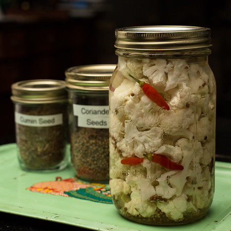 Jar of pickled cauliflower