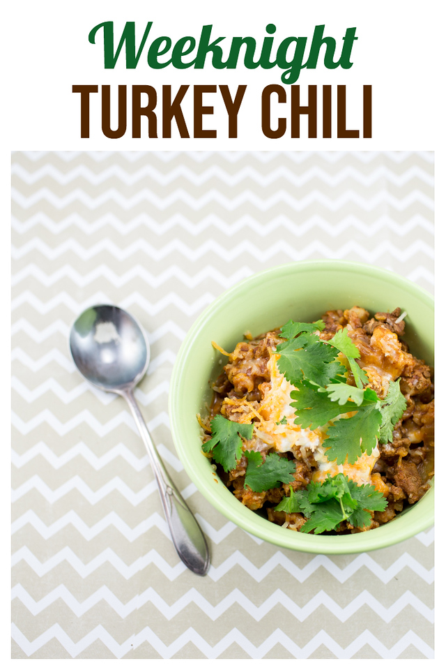 Green bowl on a chevron background filled with chili and text reading Weeknight Turkey Chili