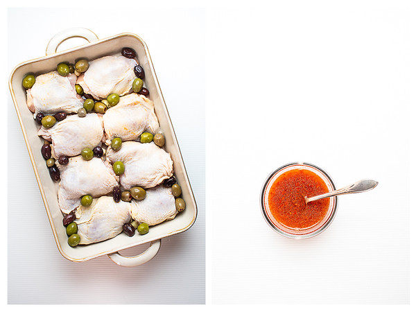 Photo collage showing the chicken thighs in a pan with the olives and harissa sauce mixed in a bowl.