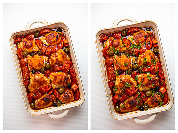 Two baking dishes with baked chicken thighs, one topped with gremolata.