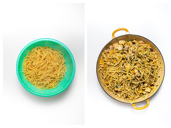 Photo collage showing drained pasta and pasta added to pan with tuna mixture.