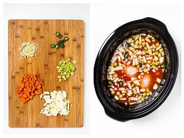 Photo collage showing diced vegetables and then all of the ingredients in the slow cooker.