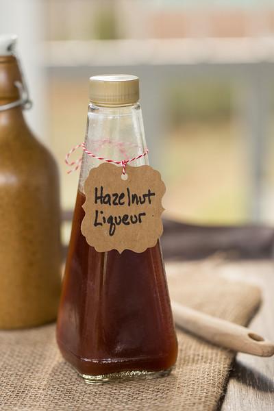 Bottle of homemade hazelnut liqueur
