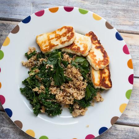 plate of quinoa, kale and haloumi