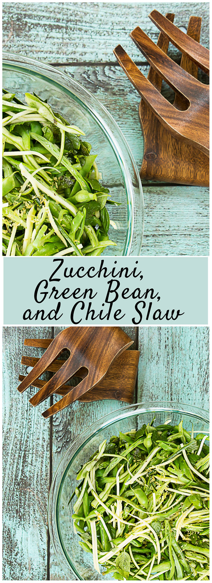 Zucchini, Green Bean, and Chile Slaw - perfect to use up zucchini!