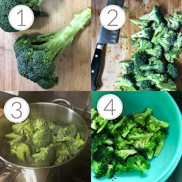 Photo collage showing the first 4 steps to make a broccoli salad
