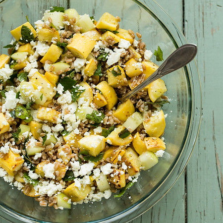 Big bowl of Yellow Squash and Farro Salad