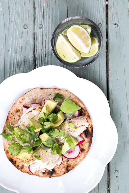 Baja Fish and Avocado Tostada