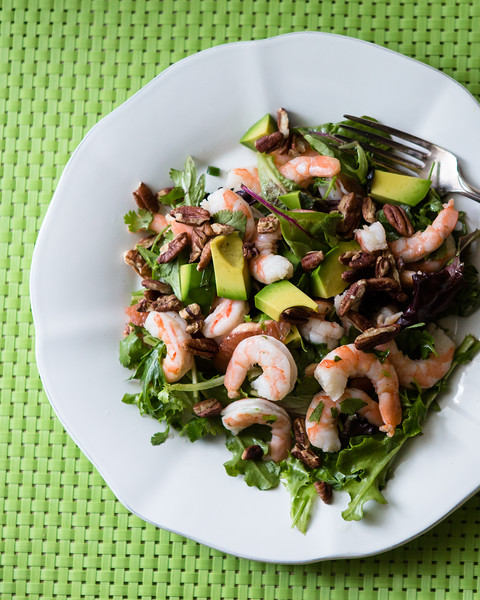 Plate with a shrimp salad
