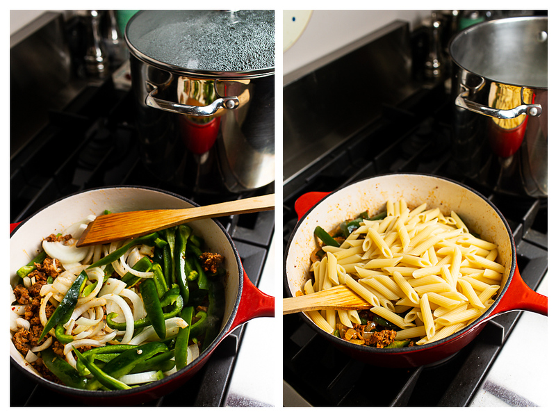 Photo collage showing onions and bell peppers added to skillet along with pasta.