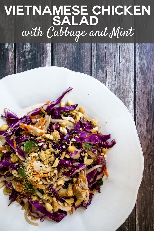 Plate of chicken salad with cabbage and text overlay reading Vietnamese chicken salad with cabbage and mint