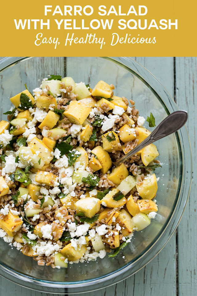 Bowl of farro salad with yellow squash with text overlay reading farro salad with yellow squash