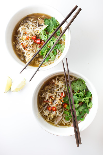 Two bowls of Slow cooker Beef Pho