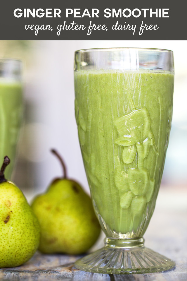 Glass filled with a green smoothie with 2 pears and text overlay reading Ginger Pear Smoothie