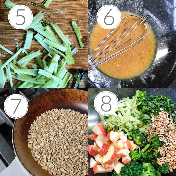 Photo collage showing steps 5-8 for making broccoli salad.
